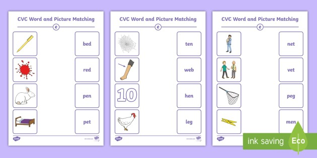 Cvc Word And Picture Matching Worksheets E