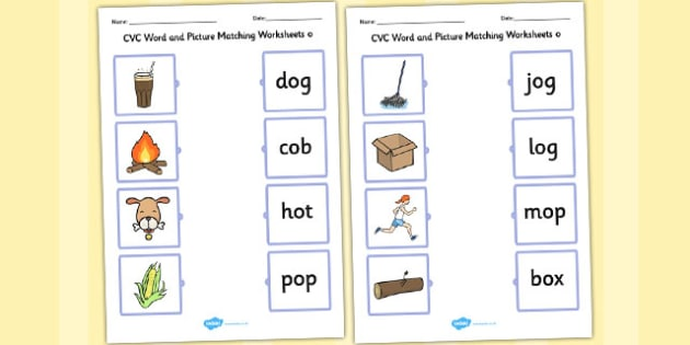 Cvc Word And Picture Matching Worksheets O