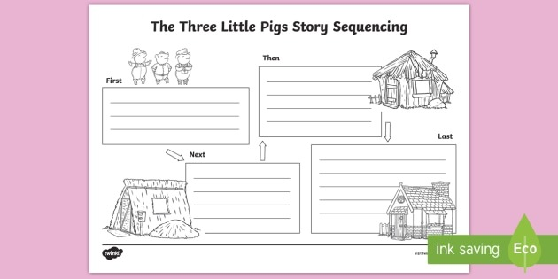The Three Little Pigs Story Sequencing Worksheet