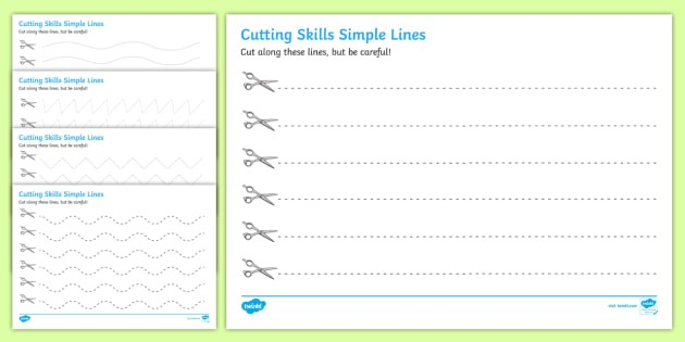 Cutting Skills Worksheets (lines)