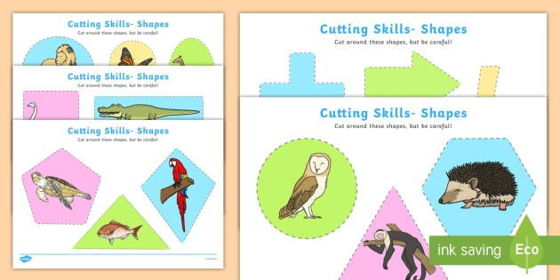 Cutting Skills Worksheets (shapes)