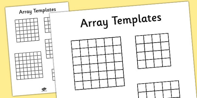 Array Multiplication Templates Work Sheet
