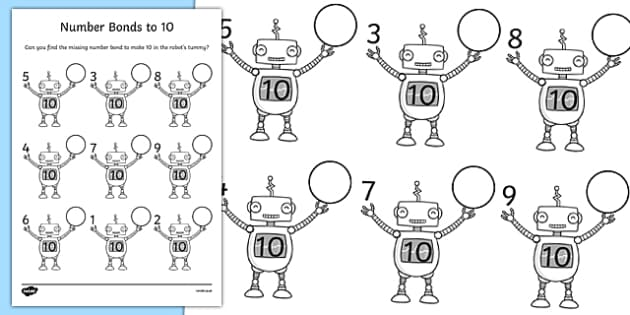 Number Bonds To 10 On Robots