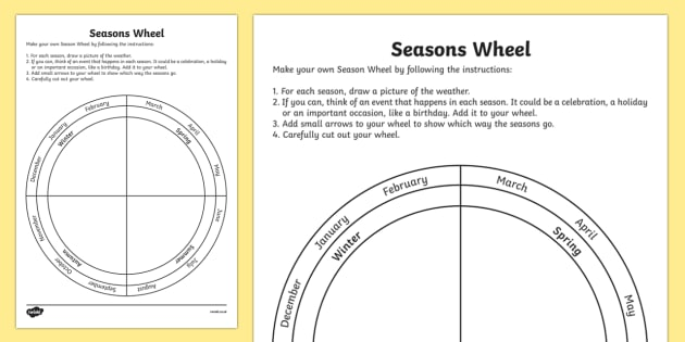 Seasons Wheel Worksheet   Worksheet