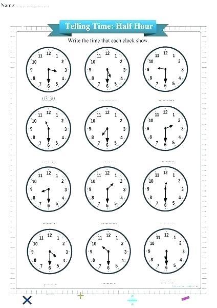 Telling Time Half Past Worksheets Teachers Pet Dominoes Free