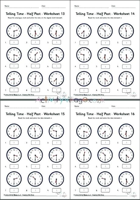 Telling Time Half Past Worksheets Third Grade Clock Worksheets