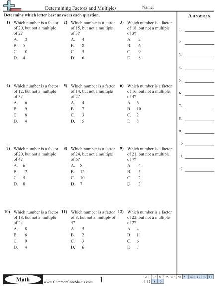 Factor Worksheets