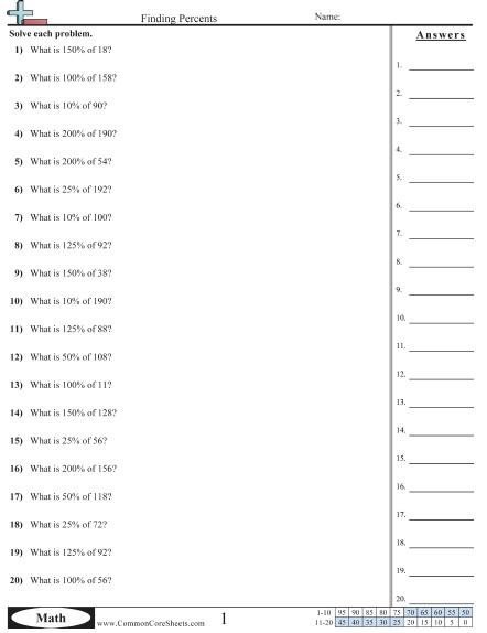 Percent Worksheets