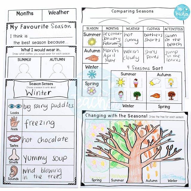 Seasons Worksheet Package