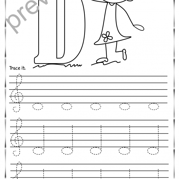 Tracing Music Notes Worksheets For Kids {treble Clef}   Anastasiya
