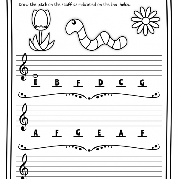 Treble Clef Note Naming Worksheets For Spring   Anastasiya