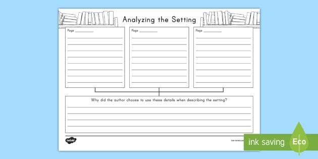 Analyzing The Setting Worksheet