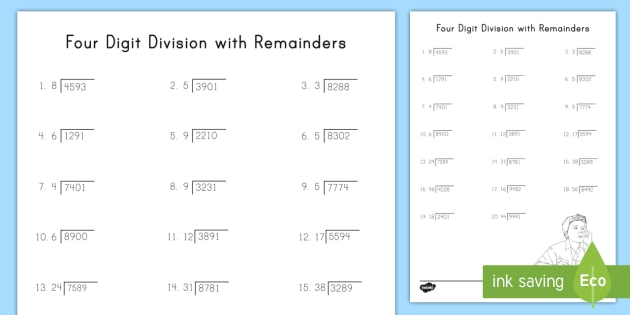 Four Digit Division With Remainders Activity