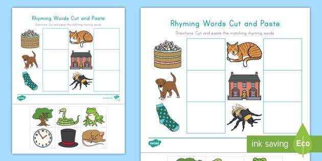 Rhyming Words Cut And Paste Worksheet