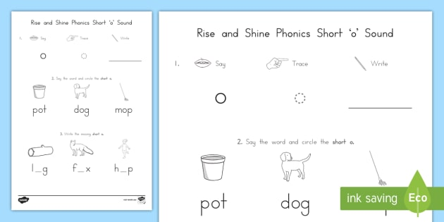 Rise And Shine Phonics Short 'o' Sound Morning Worksheet