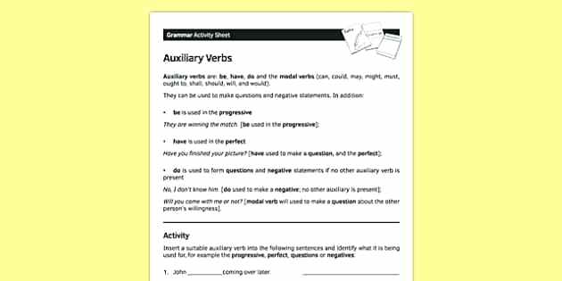 What Is An Auxiliary Verb Teaching Wiki Auxiliary Verbs Worksheets