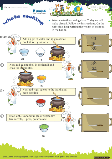 Whats Cooking Math Worksheet For Grade 2