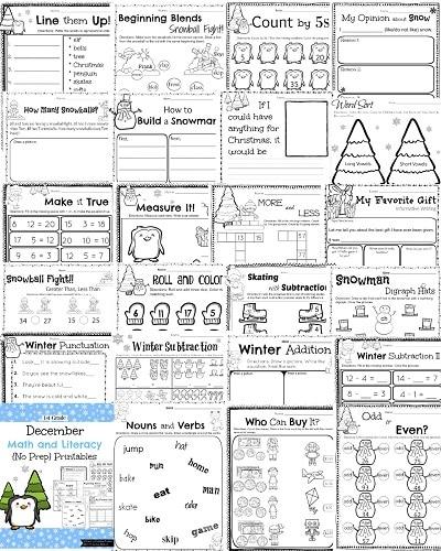 Winter Holiday Math Worksheets
