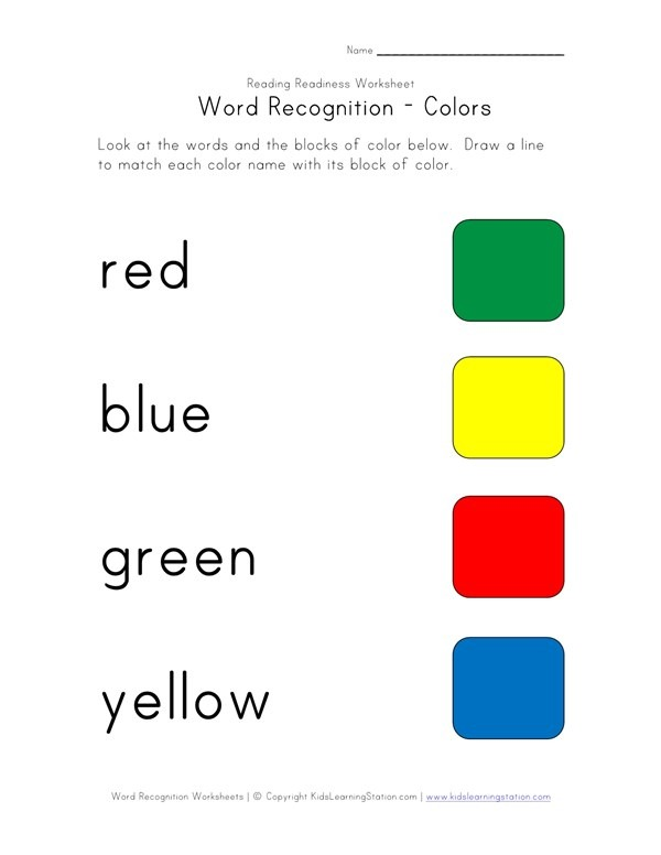 Word Recognition Worksheet