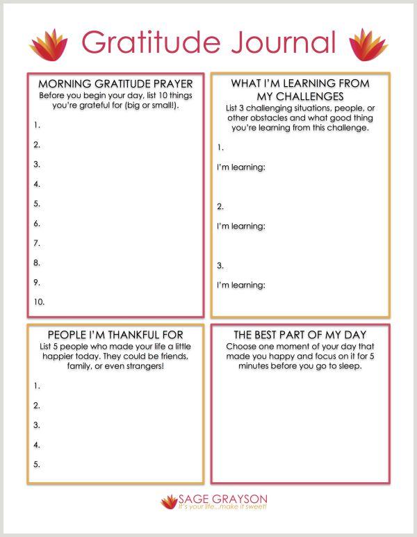 Worksheet For Daily Gratitude