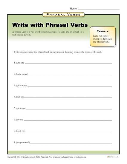 Write With Phrasal Verbs Worksheet For 3rd, 4th, 5th Grade