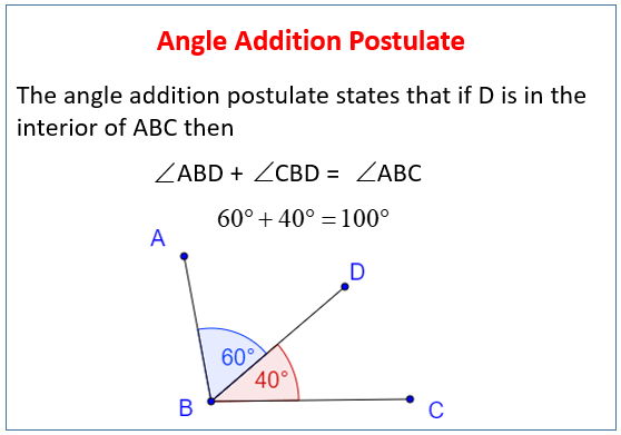 Angle Addition Postulate (examples, Solutions, Worksheets, Videos