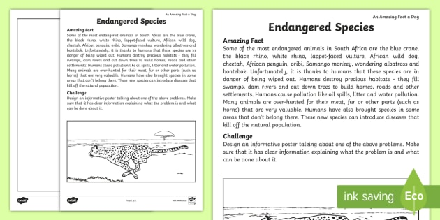 Endangered Animals Worksheet   Worksheet