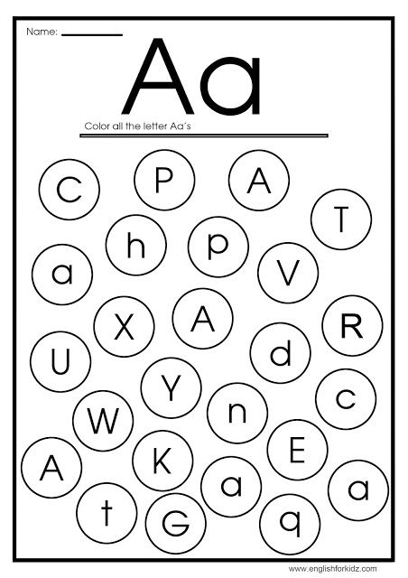 Find Letter A Worksheet