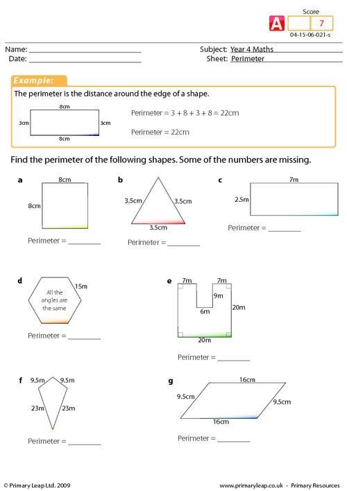 Year 4 Maths  Perimeter Worksheet (advanced)