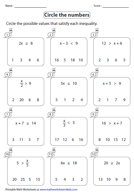 Leveled Worksheets For One Step Inequalities Involving Addition