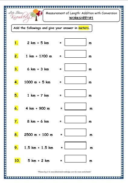 Grade 3 Maths Worksheets  (11 3 Measurement Of Length – Addition