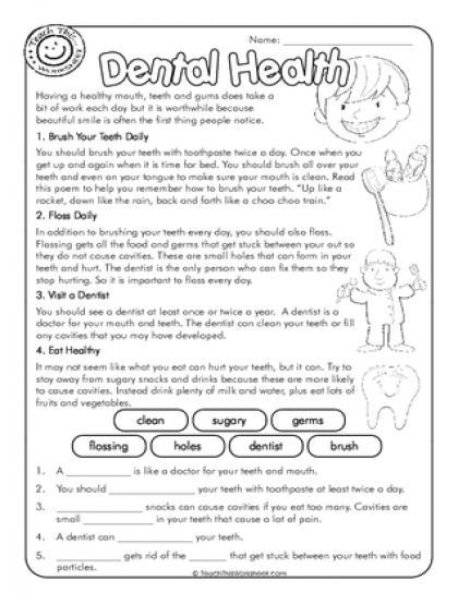 Dental Health Printable Worksheets