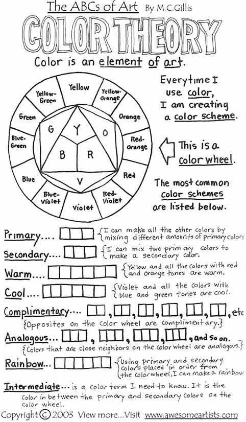 High School Color Wheel Worksheet