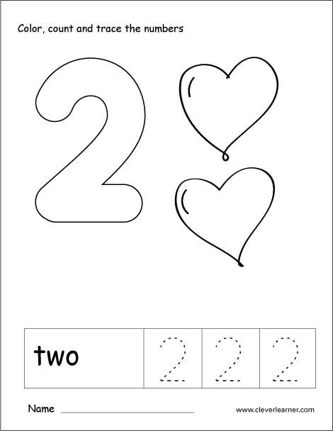 Number 2 Tracing And Colouring Worksheet For Kindergarten