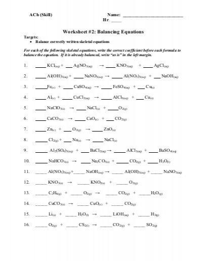 Worksheet 2 Balancing Equations Ach Ach