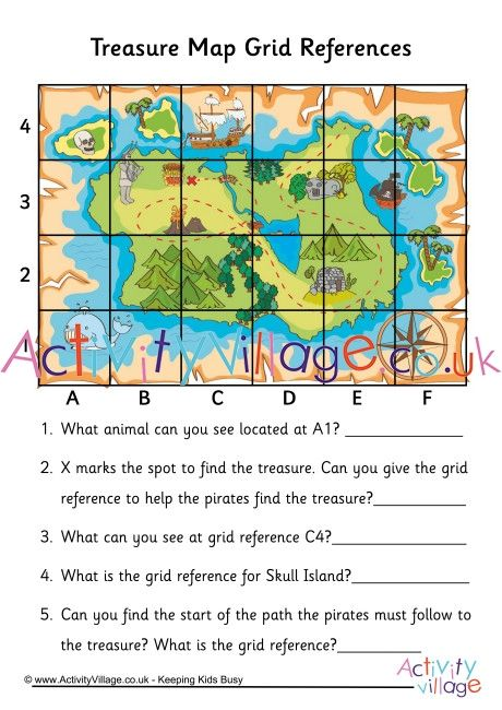 Practice Grid References With This Fun Treasure Map Worksheet