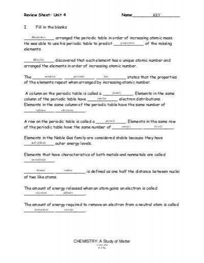 Unit 4 Review Sheet Key