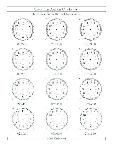 3rd Grade Clock Worksheets Math
