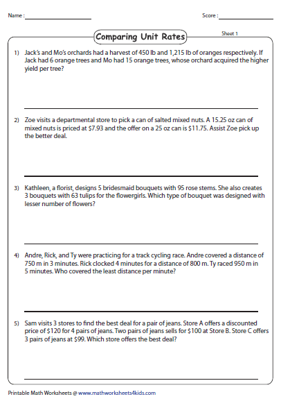 Unit Rate Word Problems  Comparing Unit Rates