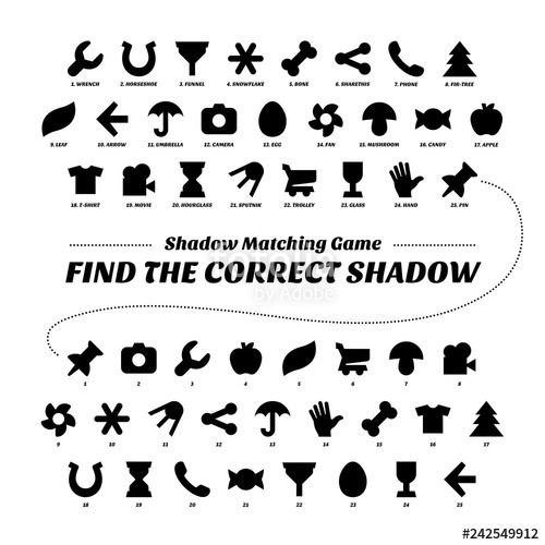Shadow Matcing Game  Printable Version  Find The Correct Shapes