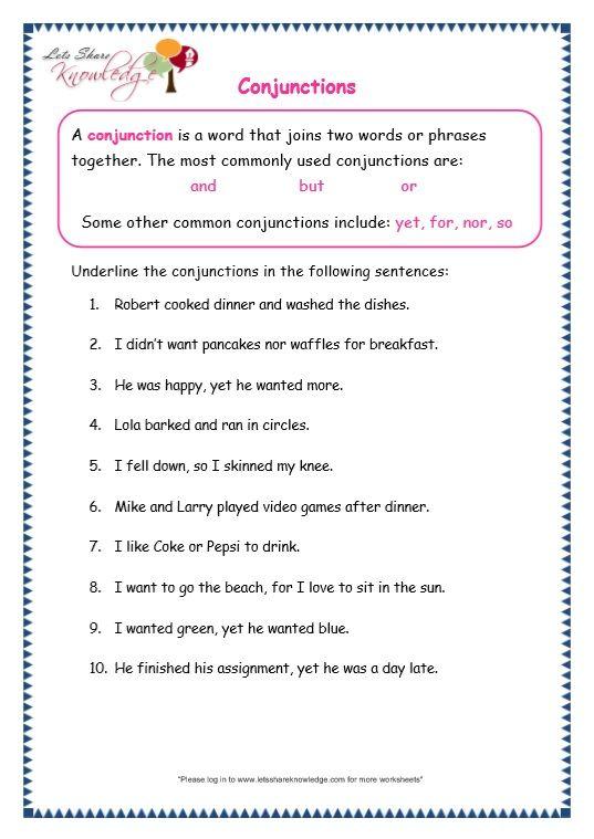 Page 2 Conjunctions Worksheet