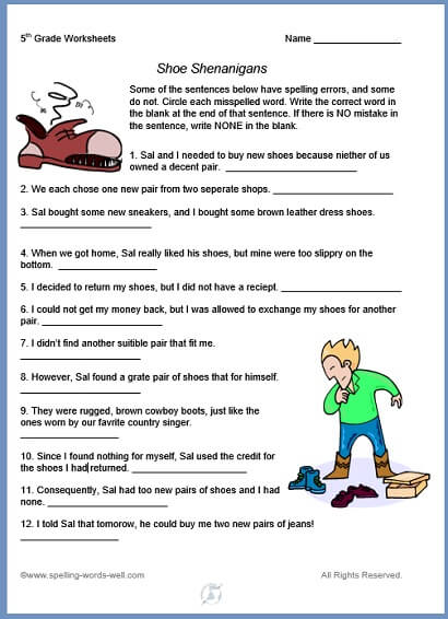 5th Grade Worksheets For Fun Spelling Practice