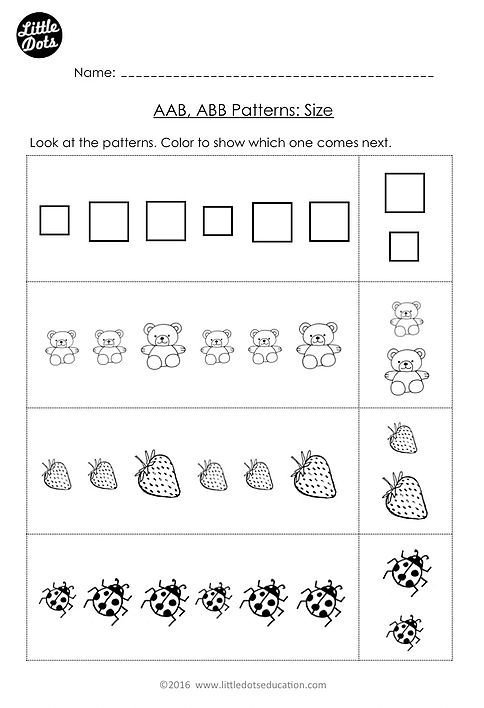 Free Aab And Abb Patterns Worksheet For Kindergarten Level  Color