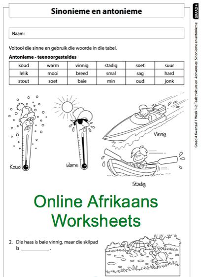 Grade 4 Online Afrikaans Worksheets Antonieme En Sinonieme  For