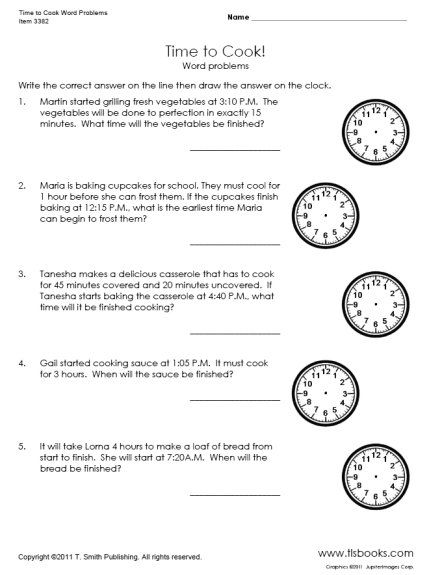 Time To Cook Word Problems Worksheet