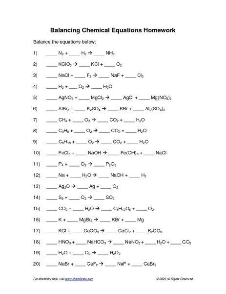 Worksheet For Balancing Chemical Equations