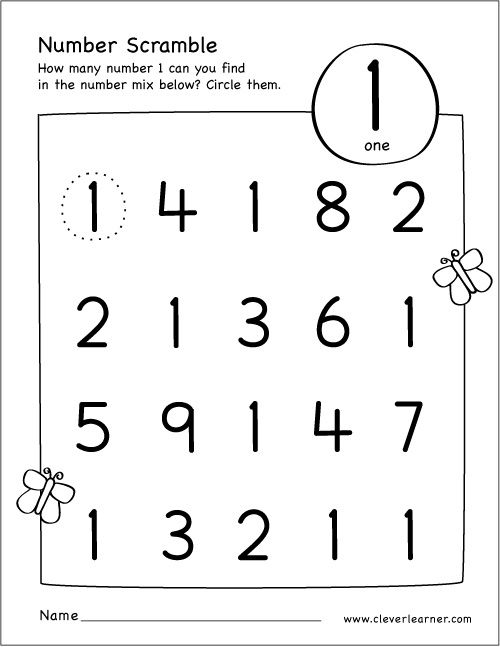 Free Printable Scramble Number Activity