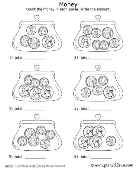 Free Printable Black & White Worksheet  Adding Coins In The Purse
