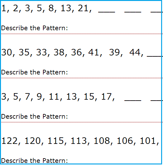 Complete The Pattern Worksheets 4th Grade