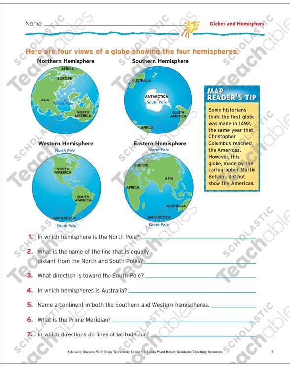 Globes And Hemispheres  Map Skills